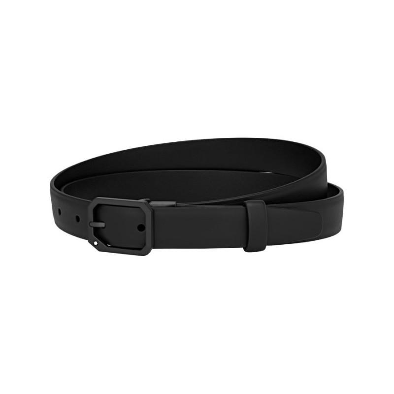 MONTBLANC cintura casual, pelle nera, fibbia in rutenio
