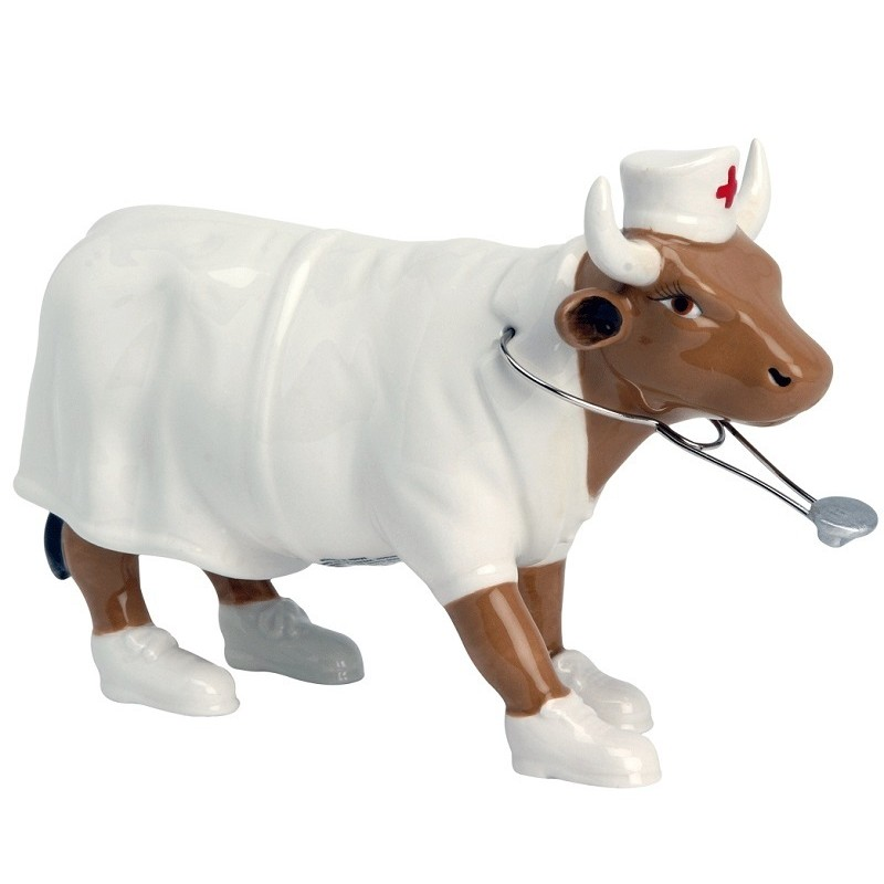 COW PARADE Nurse Nightencow, medium, ceramica dipinta a mano