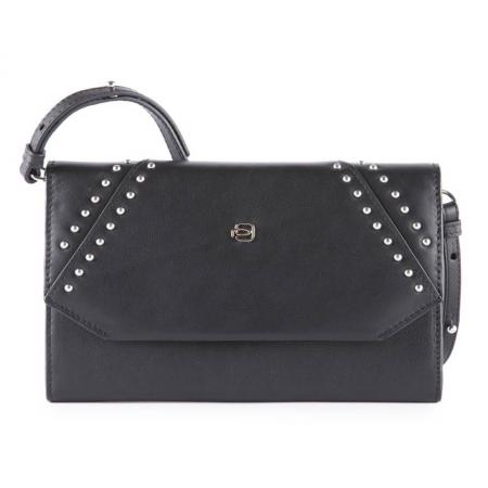 PIQUADRO Muse pochette, portafogli donna pelle nero borchie