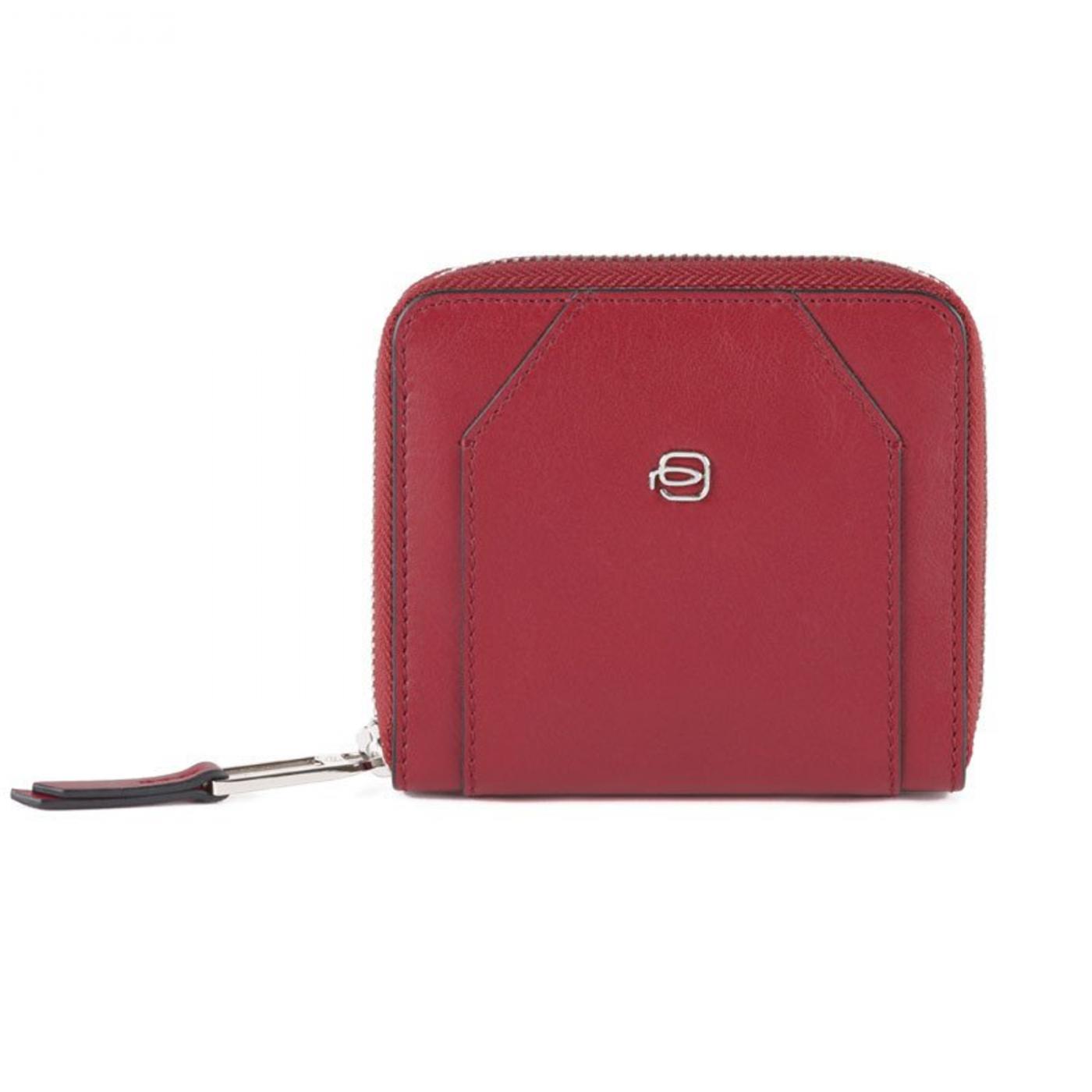 PIQUADRO Muse portafogli donna piccolo con zip, pelle rosso