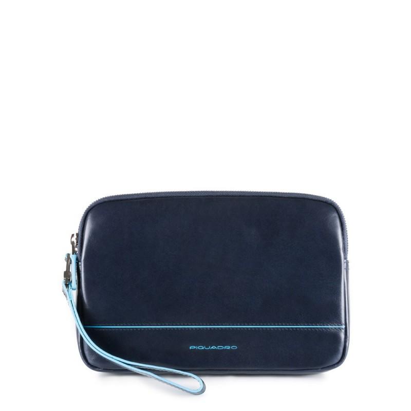 PIQUADRO Blue Square pochette a mano piatta, 2 scomparti, pelle
