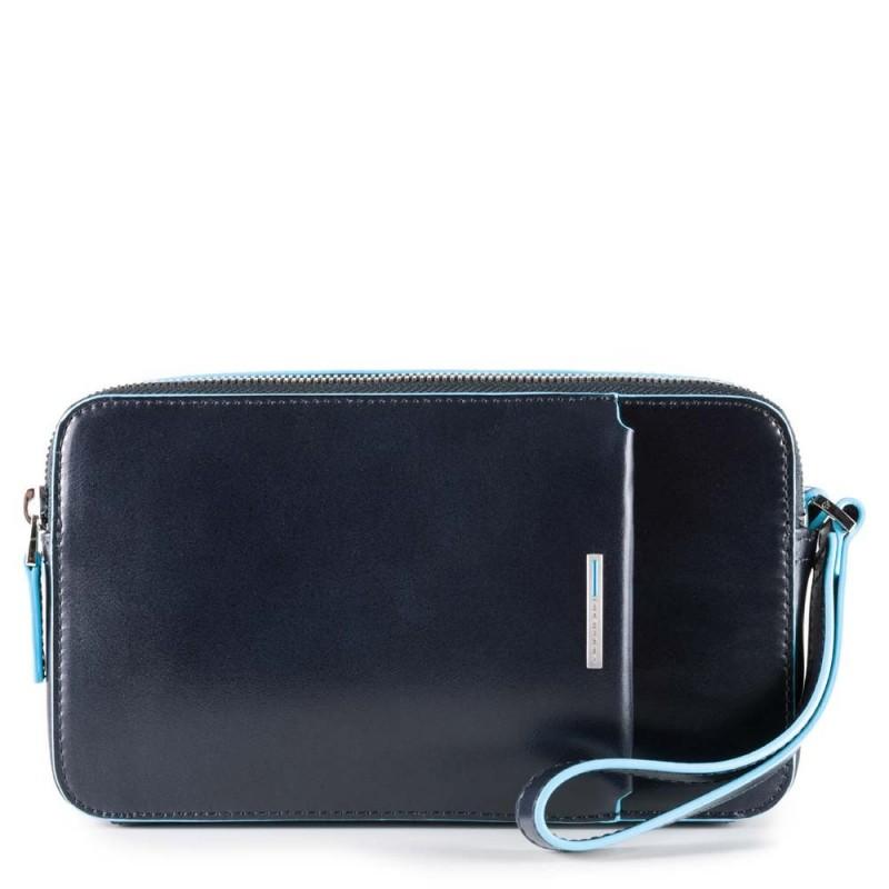 PIQUADRO Blue Square pochette a mano, 2 scomparti, pelle blu