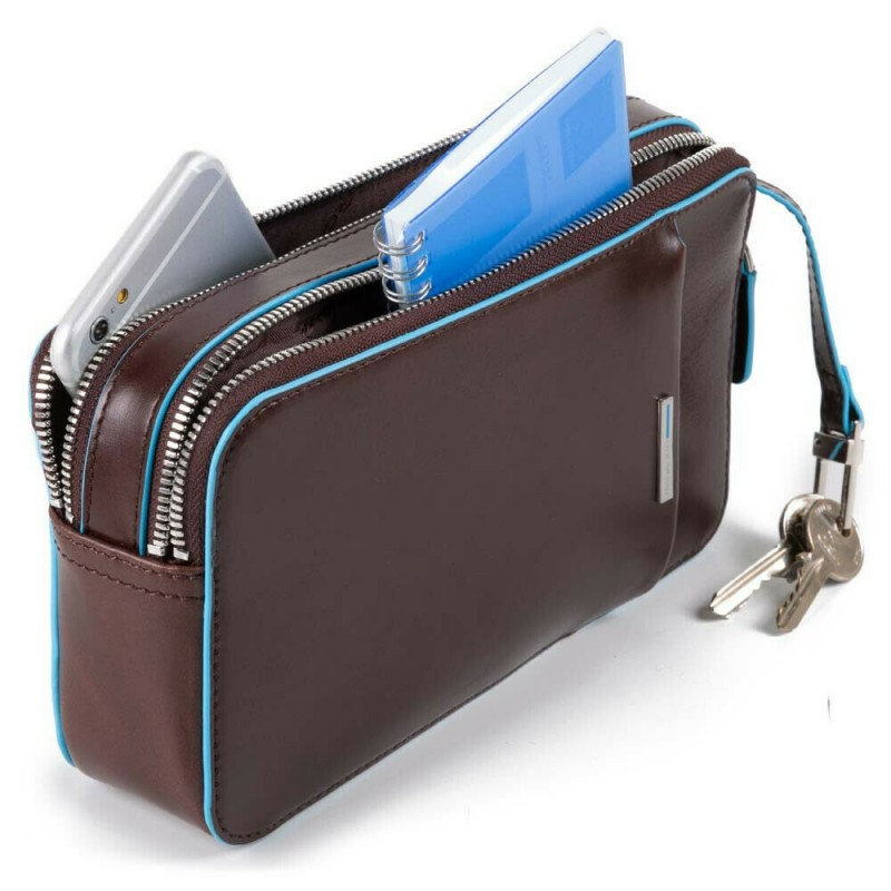 PIQUADRO Blue Square pochette a mano, 2 scomparti, pelle mogano
