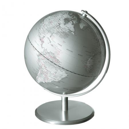 EMFORM Planet mappamondo, silver argento, 25 cm