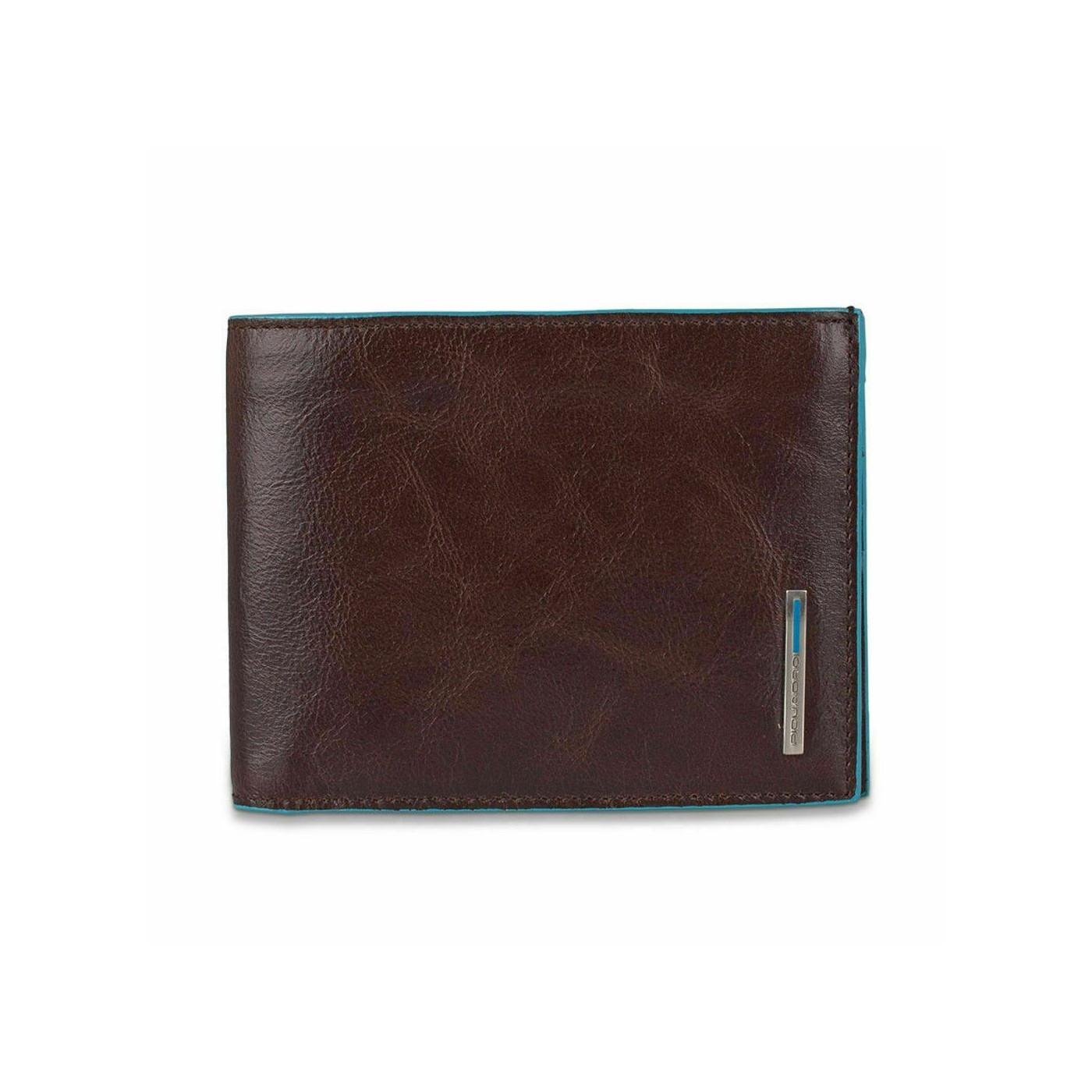 PIQUADRO Blue Square portafogli uomo 14 cc, RFID, pelle mogano