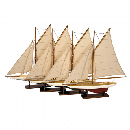 AUTHENTIC MODELS mini Pond yachts, barca a vela in legno, rosso