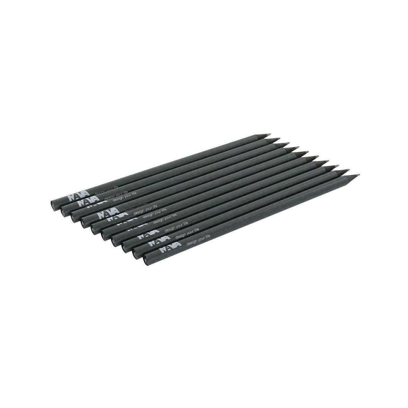 NAVA DESIGN matita in legno a taglio vivo, grigio carbone
