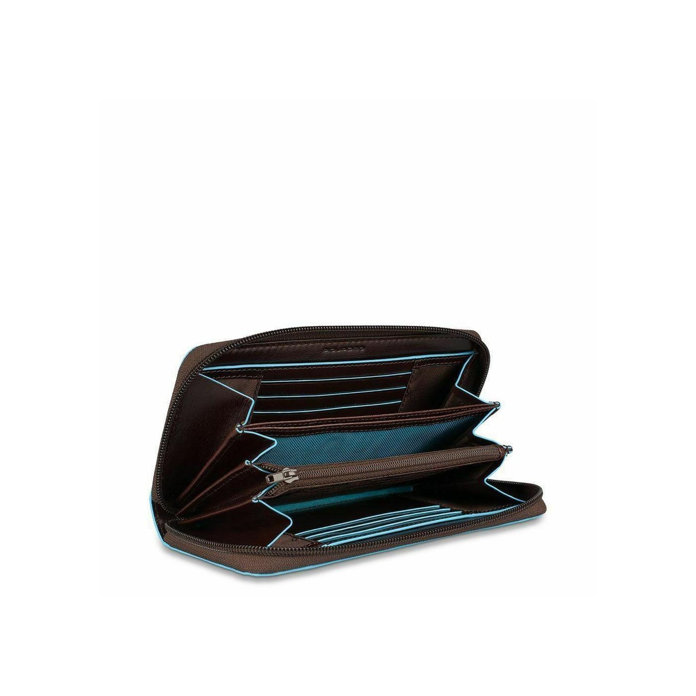PIQUADRO Blue Square portafogli donna con zip, 12cc, pelle