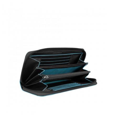 PIQUADRO Blue Square portafogli donna con zip, 12cc, pelle nero