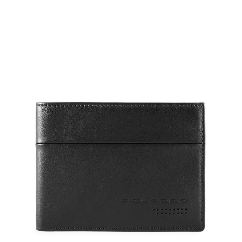 PIQUADRO Urban portafogli uomo con portamonete, 4 cc, pelle nero