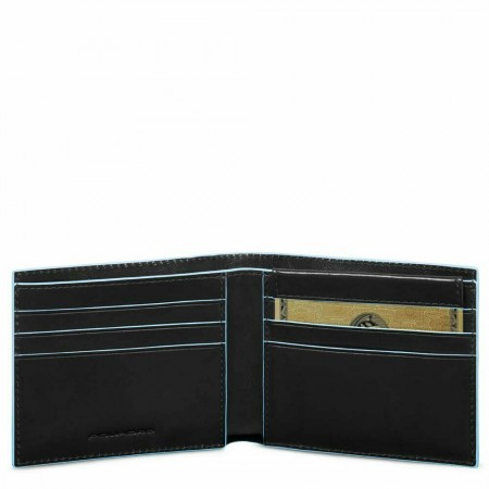 PIQUADRO Blue Square portafogli uomo 6 cc, RFID, pelle nero