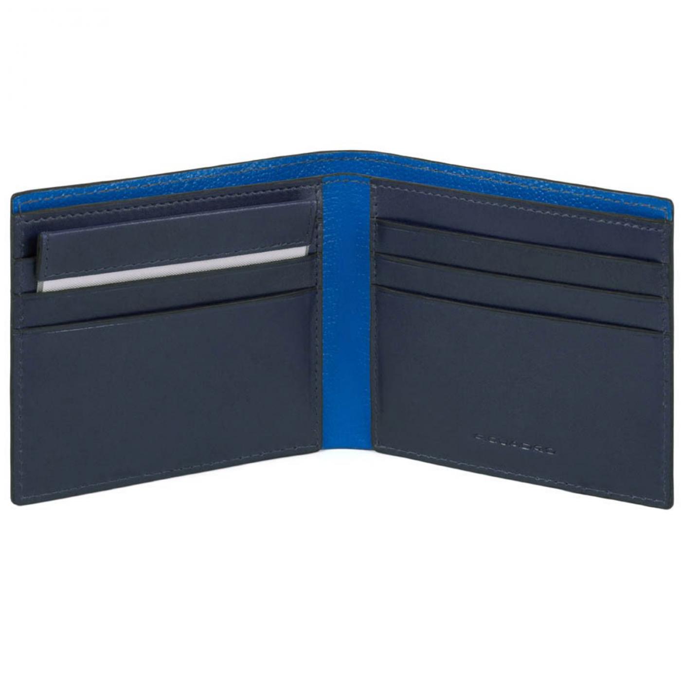 PIQUADRO Bold portafogli uomo 6 cc, RFID, pelle blu