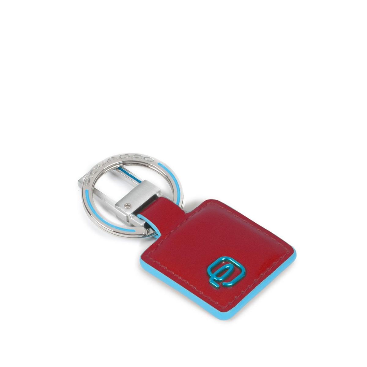 PIQUADRO Blue Square portachiavi quadrato, pelle rosso