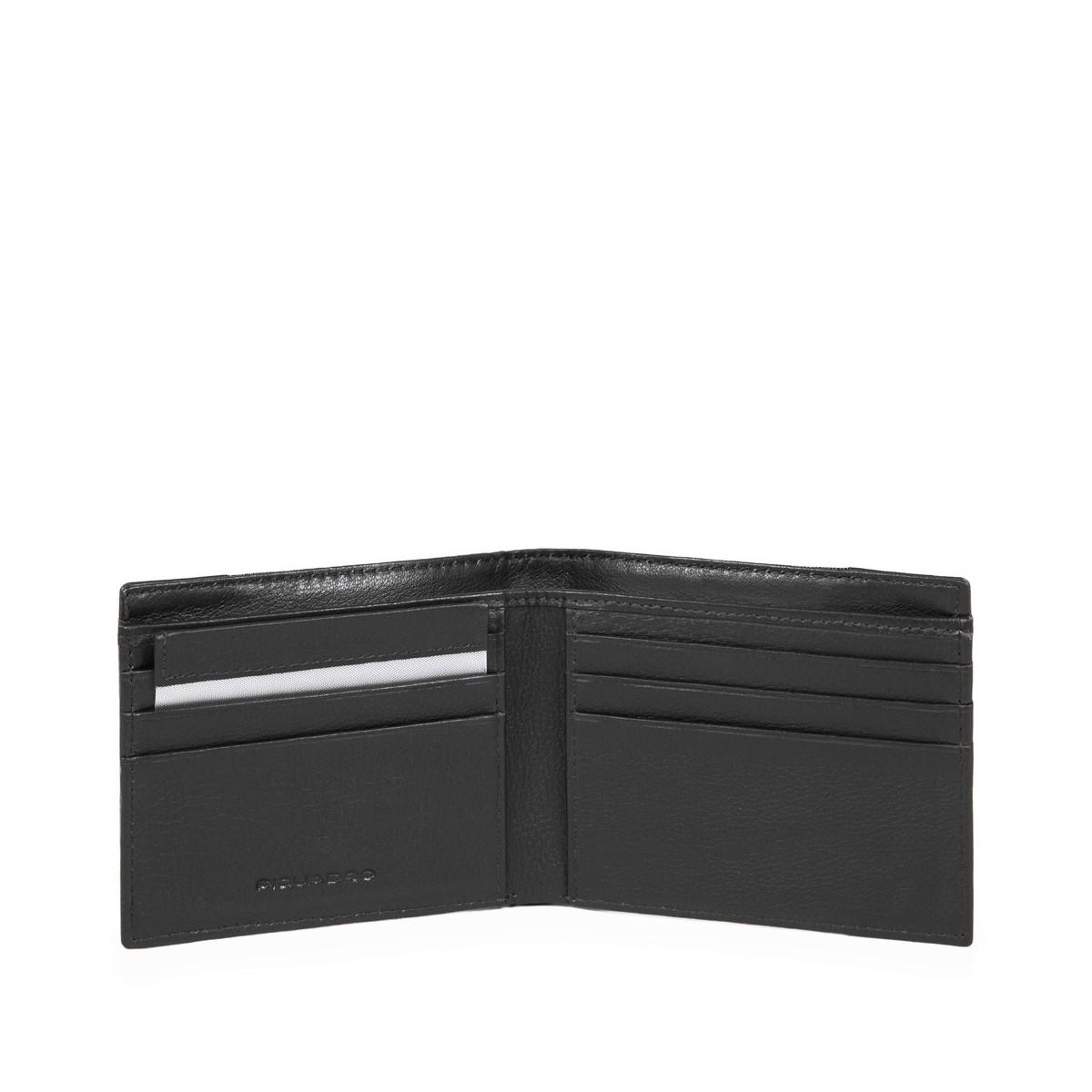 PIQUADRO Pulse portafogli uomo 6 cc, pelle e tessuto nero
