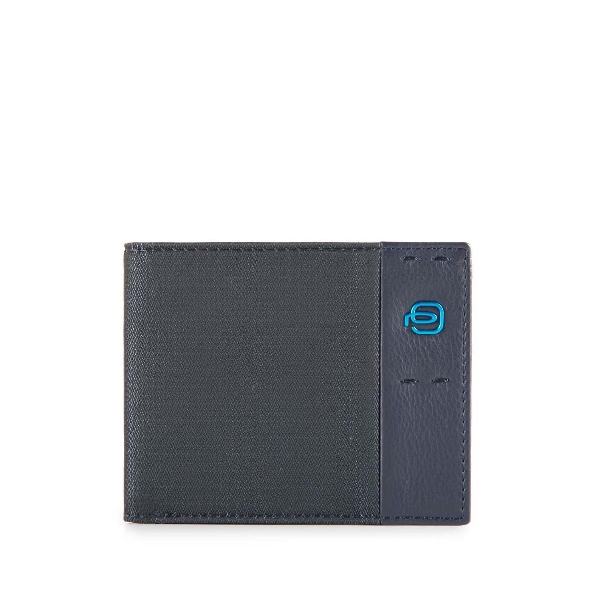PIQUADRO Pulse portafogli uomo 6 cc, pelle e tessuto blu