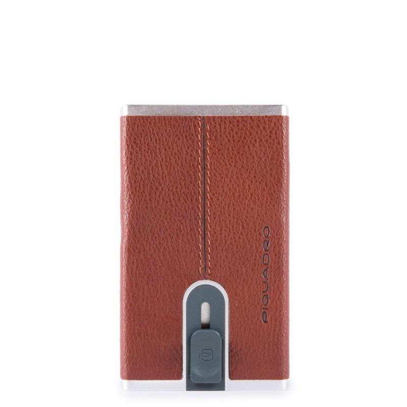 PIQUADRO Black Square portafogli compact wallet, pelle cuoio