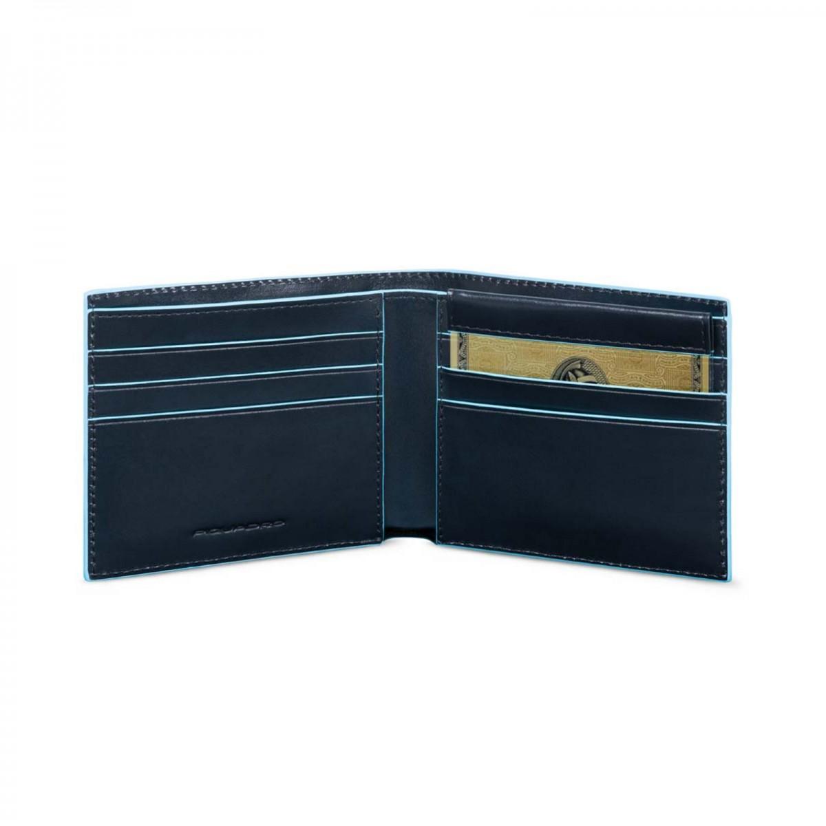 PIQUADRO Blue Square portafogli uomo 6 cc, RFID, pelle blu