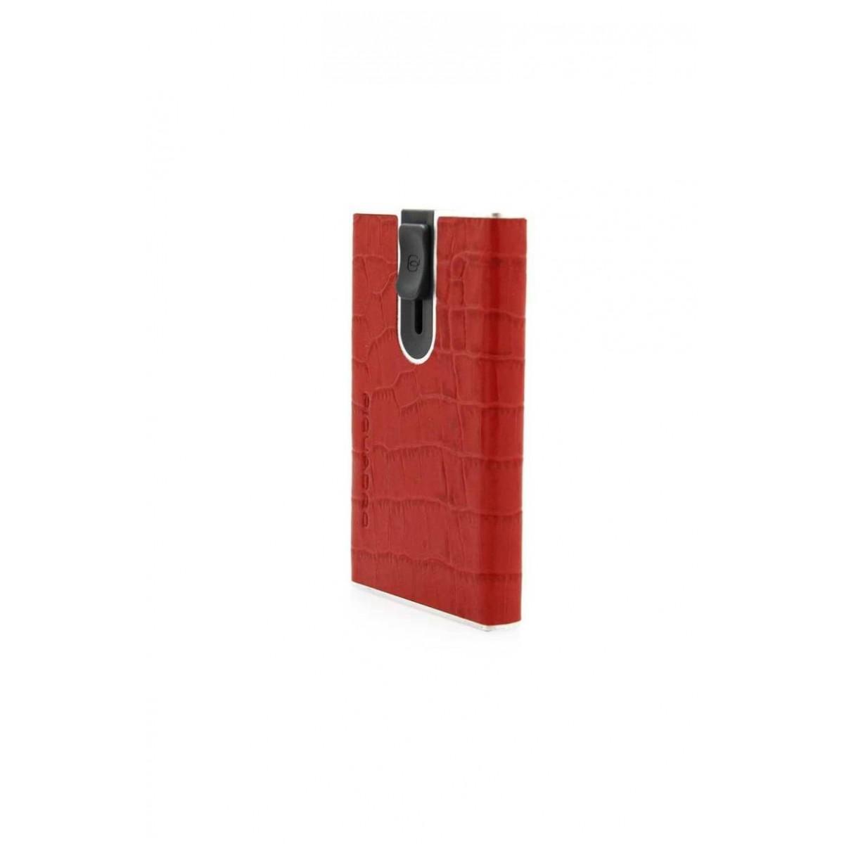 PIQUADRO Compact wallet per carte di credito, pelle coccodrillo