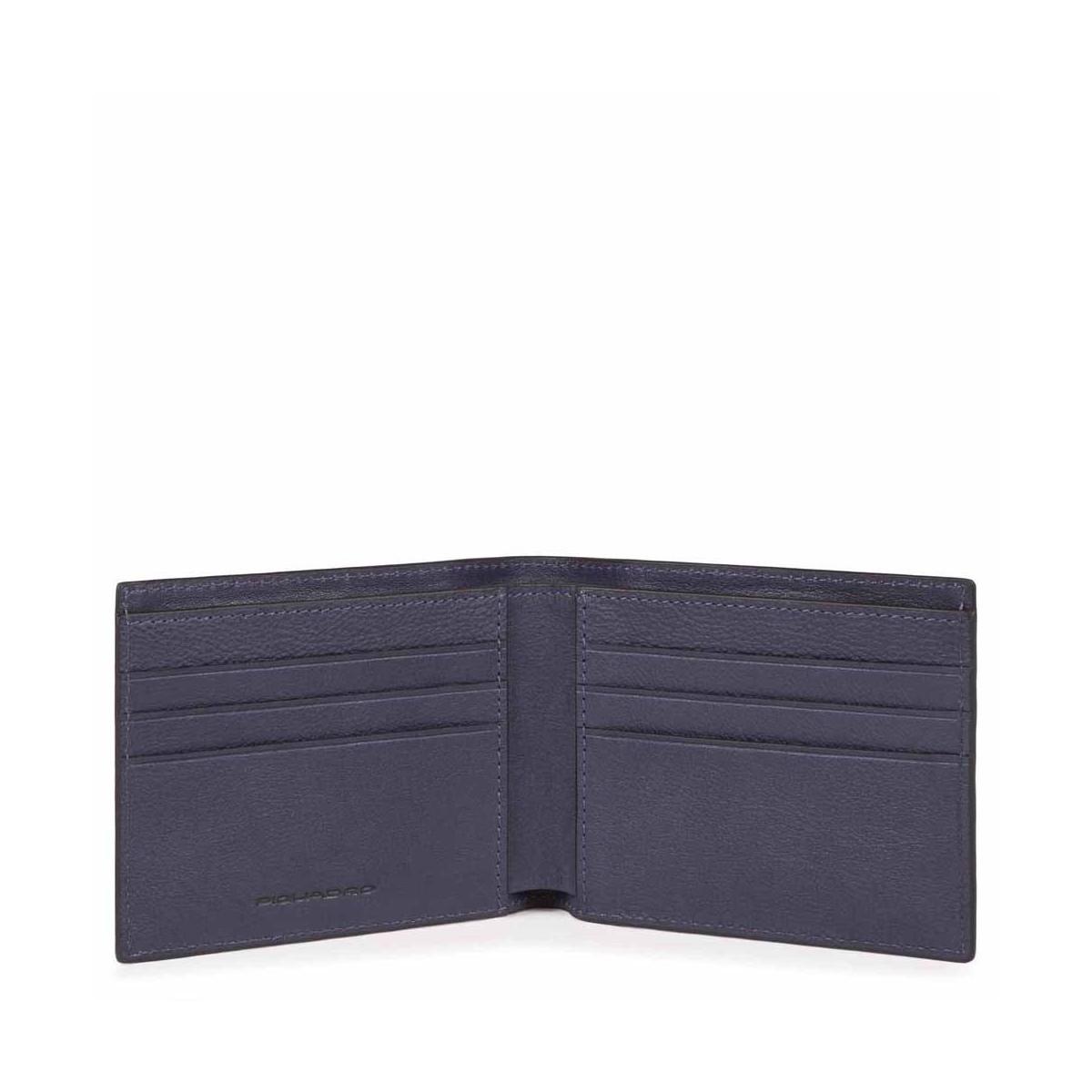 PIQUADRO Black Square portafogli uomo 6 cc, RFID, pelle blu