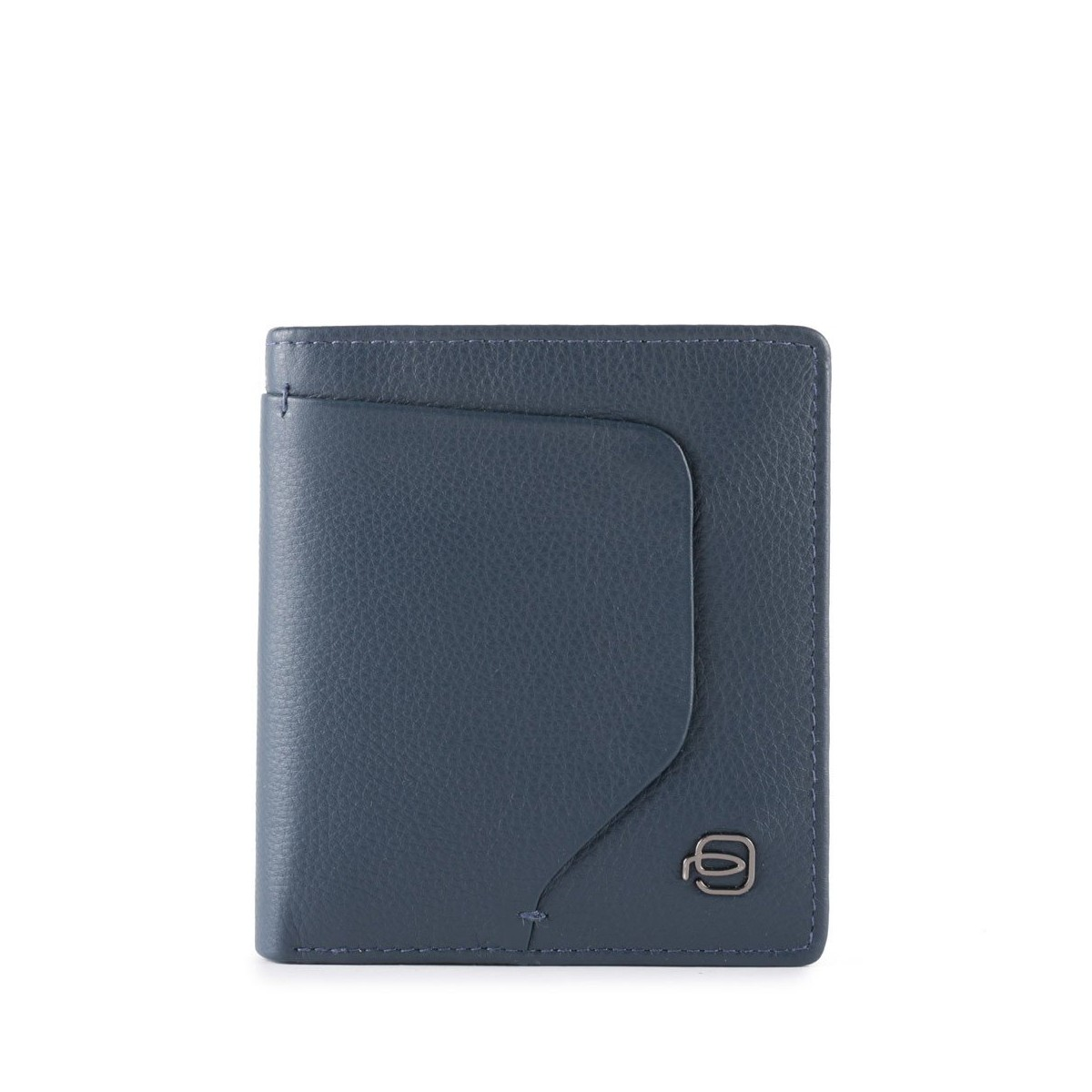 PIQUADRO Akron portafogli uomo compatto 9 cc, pelle blu