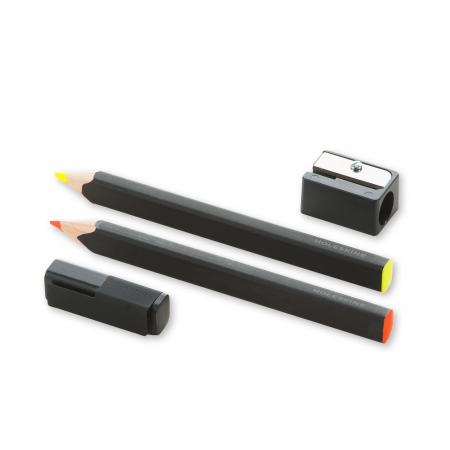 MOLESKINE set 2 matite evidenziatore giallo, arancio, temperino