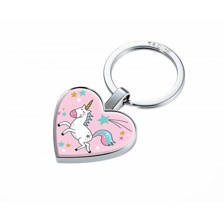TROIKA portachiavi cuore con gettone, unicorno
