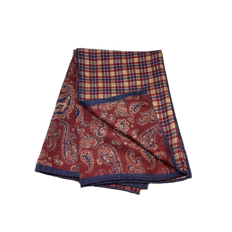 PELLENS & LOICK foulard a fantasia reversibile, 100% seta, rosso