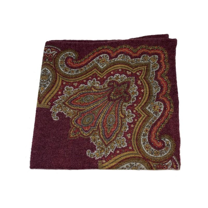 PELLENS & LOICK pochette da taschino, 100% lana, rosso bordeaux