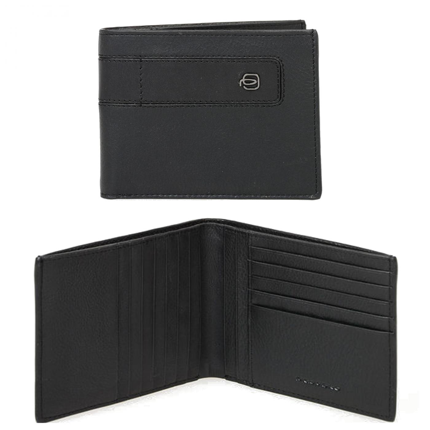 PIQUADRO Bae portafogli uomo 12 cc, RFID, pelle nero